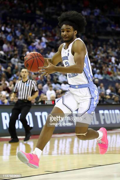 Coby White of the North Carolina Tar Heels drives against the Iona Gaels during the second half of the game in the first round of the 2019 NCAA Men's...