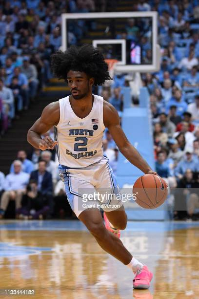 Coby White of the North Carolina Tar Heels drives the ball against the Syracuse Orange during their game at the Dean Smith Center on February 26 2019...