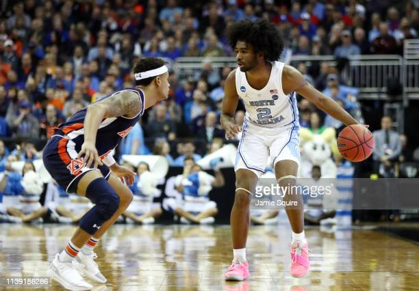 Coby White of the North Carolina Tar Heels handles the ball against the Auburn Tigers during the 2019 NCAA Basketball Tournament Midwest Regional at...