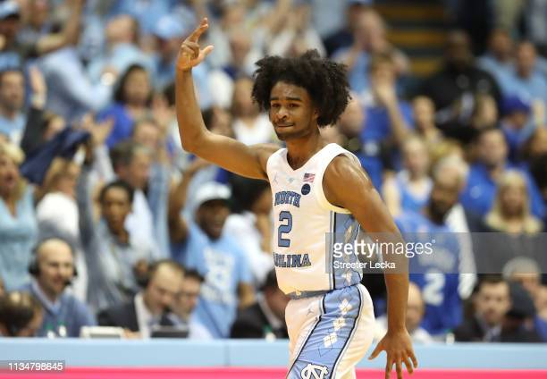 Coby White of the North Carolina Tar Heels reacts after a play against the Duke Blue Devils during their game at Dean Smith Center on March 09 2019...