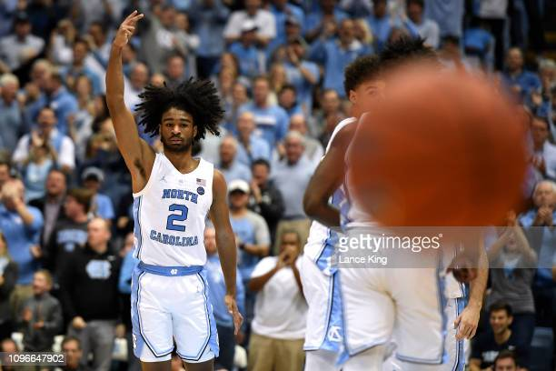 Coby White of the North Carolina Tar Heels reacts after making a threepoint shot in the second half of their game against the Miami Hurricanes at...