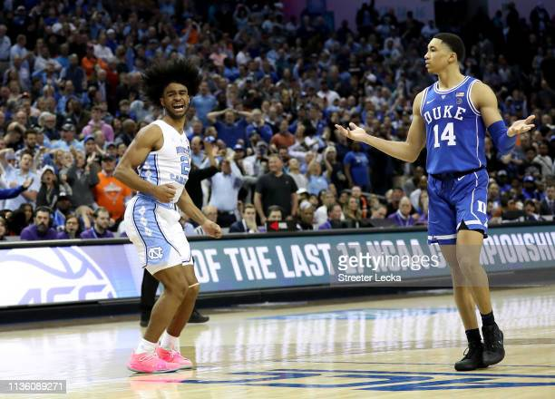 Coby White of the North Carolina Tar Heels reacts against Jordan Goldwire of the Duke Blue Devils during their game in the semifinals of the 2019...