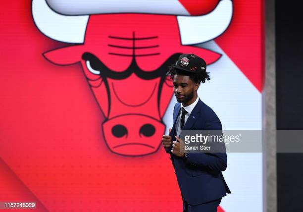 Coby White reacts after being drafted with the eighth overall pick by the Chicago Bulls during the 2019 NBA Draft at the Barclays Center on June 20...