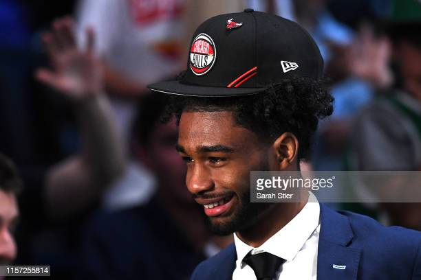 Coby White reacts after being drafted with the seventh overall pick by the Chicago Bulls during the 2019 NBA Draft at the Barclays Center on June 20...