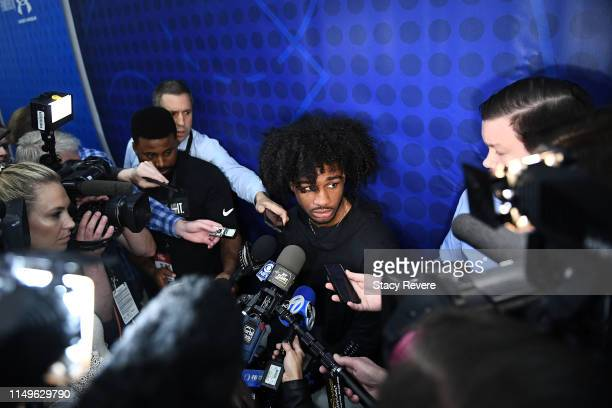 Coby White speaks with the media during Day One of the NBA Draft Combine at Quest MultiSport Complex on May 16 2019 in Chicago Illinois NOTE TO USER...