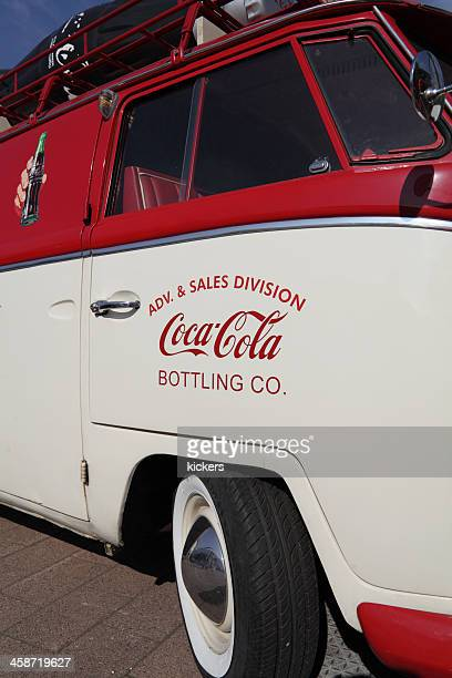 coca cola advertising bus front section - luggage rack stock photos and pictures