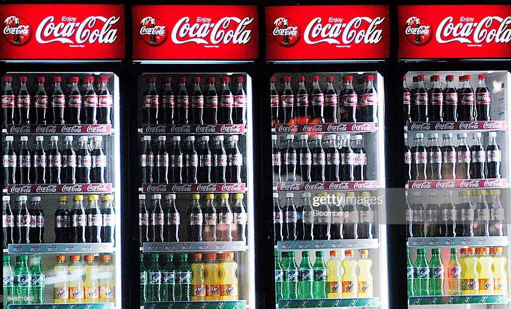 Coca Cola products seen in a fridge in Brussels, Belgium, Thursday