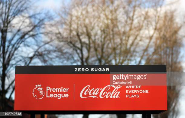 Coca Cola stand outside the stadium ahead of the Premier League match between Aston Villa and Leicester City at Villa Park on December 08, 2019 in...