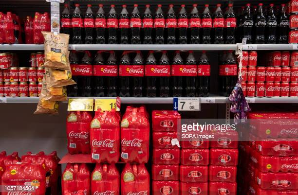 CocaCola American soft drink are seen displayed for sale at the Carrefour supermarket in Spain