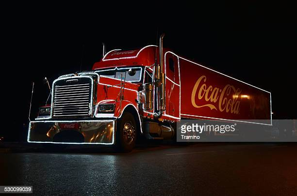 Coca-cola Christmas truck at night