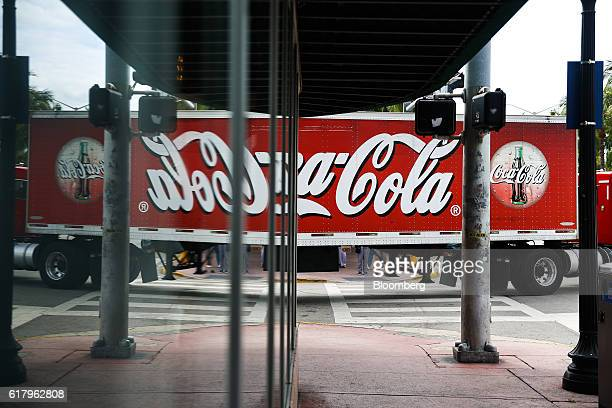 CocaCola Co signage is seen on a delivery truck in Miami Beach Florida US on Monday Oct 24 2016 The CocaCola Co is scheduled to release earnings...