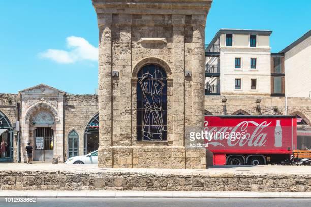 Coca-Cola delivery truck in old city of Jaffa