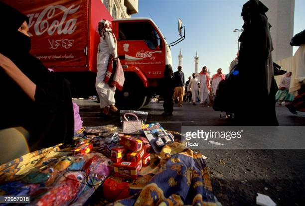CocaCola delivery truck sits at the market March 2000 in Mecca Saudi Arabia