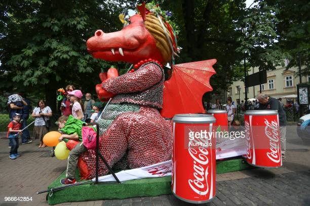 CocaCola dragon during the 18th Great Dragon Parade in Krakow Poland on 3 June 2018 The annual Great Dragon Parade features more than a thousand...