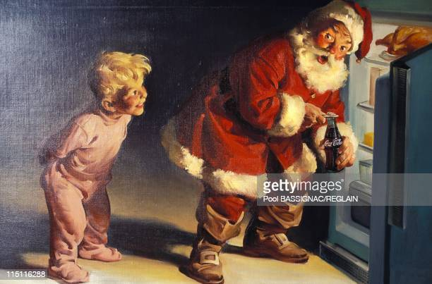 CocaCola exhibition art or advertising in Paris France in December 1995 Santa Claus