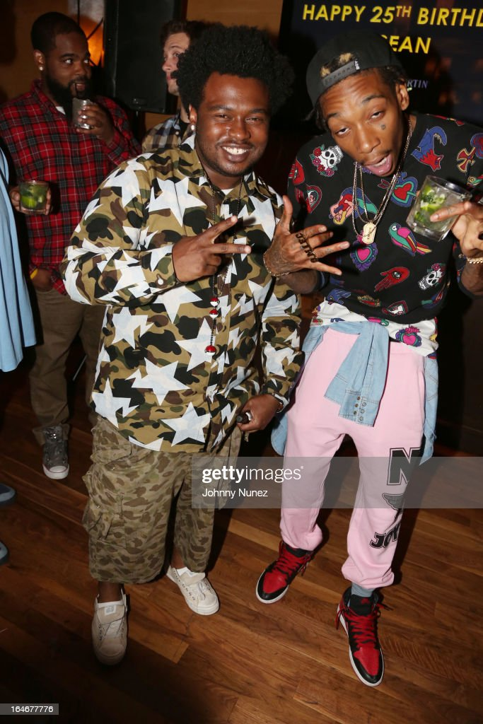 Cocaine 80's and Wiz Khalifa attend Remy Martin V Celebrates Big Sean's 25th Birthday Dinner at Wolfgang's Steakhouse on March 25, 2013 in Beverly Hills, California.