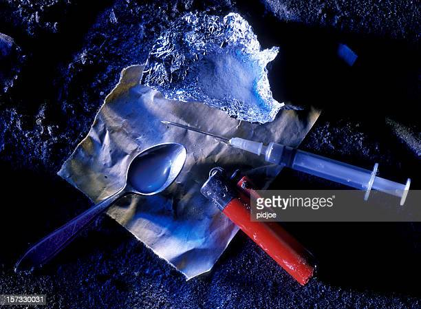 cocaine syringe and spoon - heroin stock pictures, royalty-free photos & images
