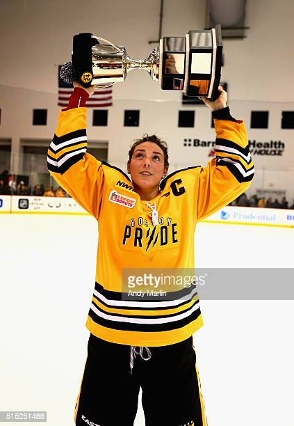 Cocaptain Hilary Knight of the Boston Pride holds up the Isobel Cup after defeating the Buffalo Beauts during Game 2 of the league's inaugural...