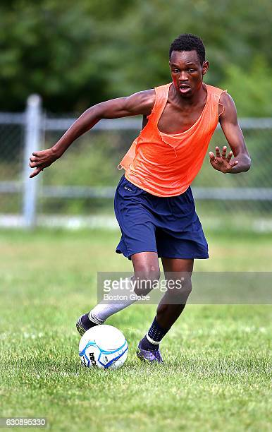 Cocaptain Maulid Abdow displays ball skills during tryouts for the Lewiston High soccer team in Lewiston ME on Aug 17 2016 Somali and other African...