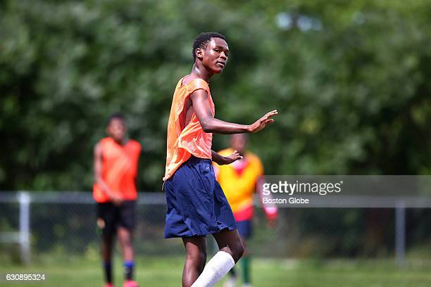 Cocaptain Maulid Abdow gives direction to another player during a smallsided game during tryouts for the Lewiston High soccer team in Lewiston ME on...