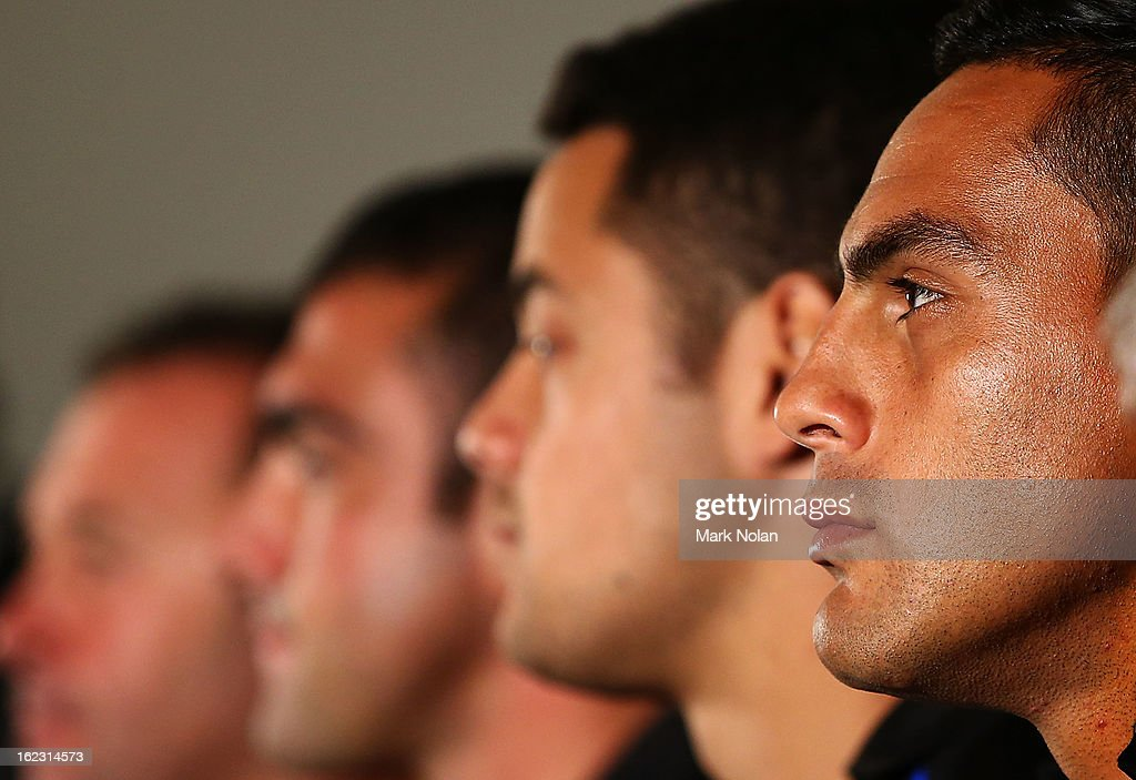 Co-captain Reni Maitua watches on during the Parramatta Eels NRL captaincy announcement at Parramatta Stadium on February 22, 2013 in Sydney, Australia.