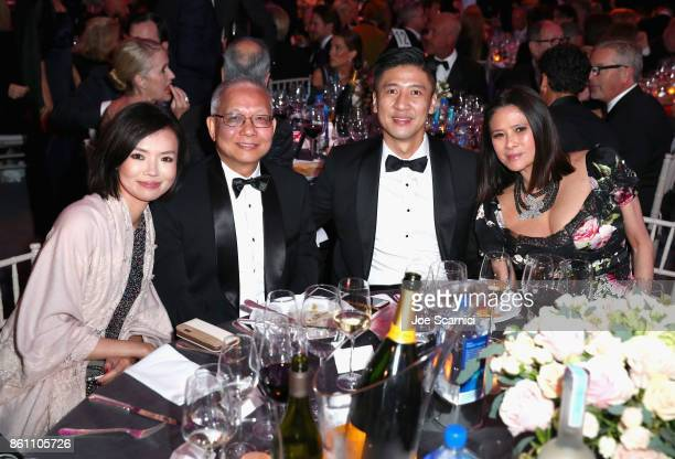 CoCEO of AMTD Strategic Capital Group Angie Lin Vice Chairman AMTD Marcellus Wong CFO at AMTD Philip Yau and guest attend the amfAR Gala Los Angeles...