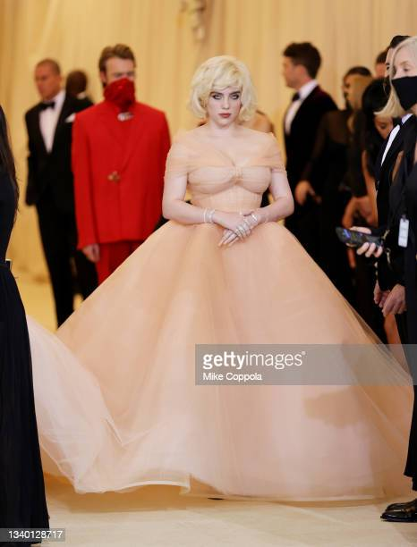 Co-chair Billie Eilish attends The 2021 Met Gala Celebrating In America: A Lexicon Of Fashion at Metropolitan Museum of Art on September 13, 2021 in...