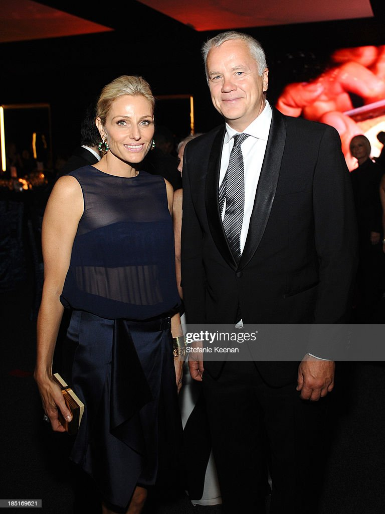 Co-Chair Jamie Tisch and actor Tim Robbins attend the Wallis Annenberg Center for the Performing Arts Inaugural Gala presented by Salvatore Ferragamo at the Wallis Annenberg Center for the Performing Arts on October 17, 2013 in Beverly Hills, California.