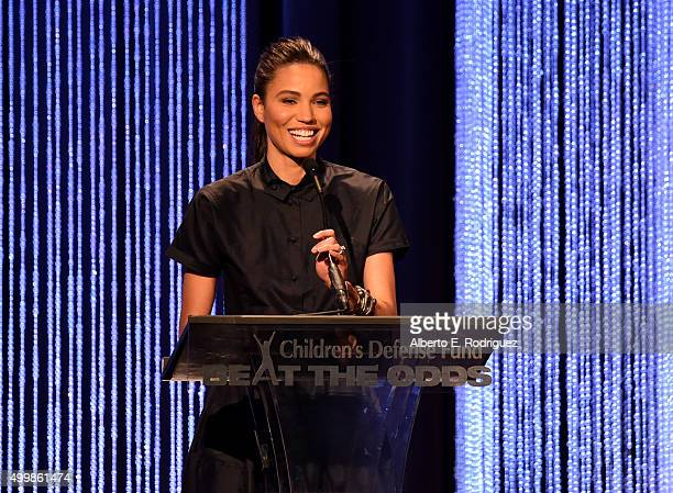 CoChair Jurnee SmollettBell speaks on stage at the Children's Defense FundCalifornia 25th Annual Beat The Odds Awards at Regent Beverly Wilshire...
