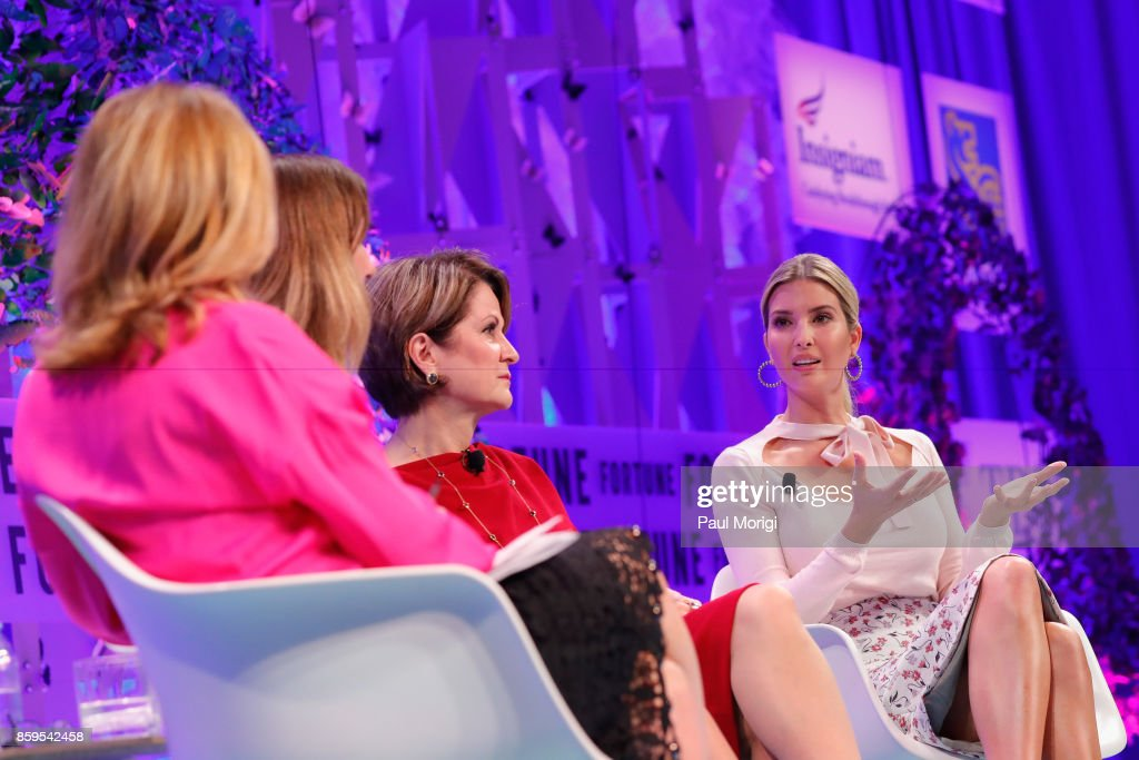Co-Chair, Most Powerful Women International Nina Easton, Deloitte CEO Cathy Engelbert, Lockheed Martin CEO Marillyn Hewson, and Advisor to the President Ivanka Trump speak onstage at the Fortune Most Powerful Women Summit - Day 1 on October 9, 2017 in Washington, DC.