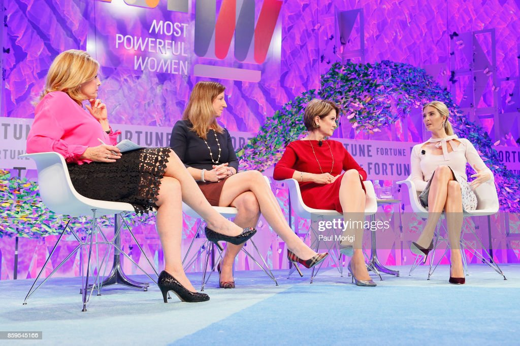 Co-Chair Most Powerful Women International Nina Easton, Deloitte CEO Cathy Engelbert, Lockheed Martin CEO Marillyn Hewson, and Advisor to the President Ivanka Trump speak onstage at the Fortune Most Powerful Women Summit on October 9, 2017 in Washington, DC.