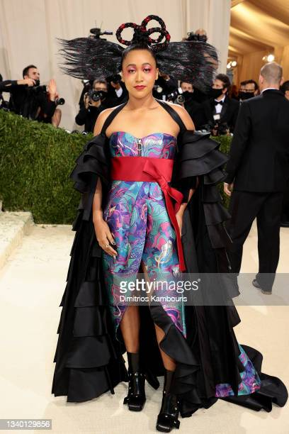 Co-chair Naomi Osaka attends The 2021 Met Gala Celebrating In America: A Lexicon Of Fashion at Metropolitan Museum of Art on September 13, 2021 in...