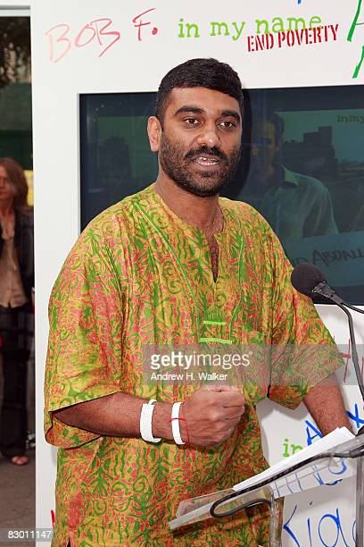 CoChair of GCAP Kumi Naidoo speaks at the launch of the In My Name global campaign at Dag Hammarskjold Plaza on September 25 2008 in New York City
