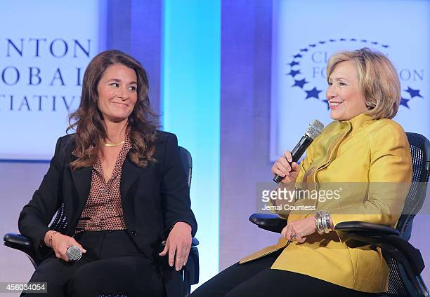 Cochair of the Bill and Melinda Gates Foundation Melinda Gates and Former US Secretary of State Hillary Clinton speak during the fourth day of the...