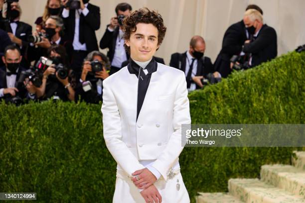 Co-chair Timothée Chalamet attends The 2021 Met Gala Celebrating In America: A Lexicon Of Fashion at Metropolitan Museum of Art on September 13, 2021...