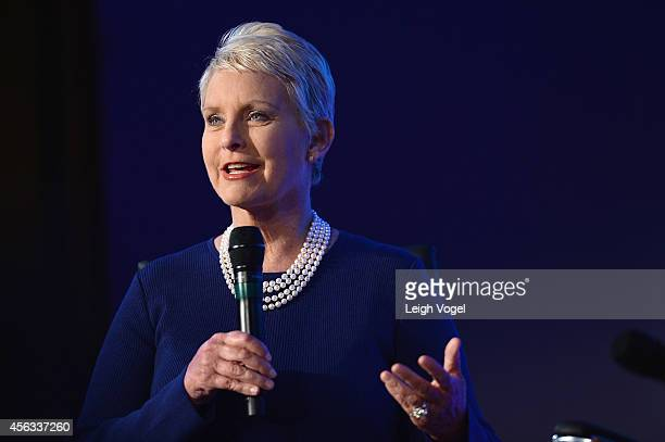 CoChair to the Arizona Council on Human Trafficking Cindy Hensley McCain of the McCain Institute speaks onstage at the 2014 Concordia Summit Day 1 at...