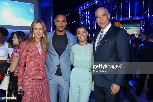 CoChairman and CEO of The FOX Television Group Dana Walden and Gary Newman with Trai Byers and Grace Byers at the 2017 FOX Upfront at Wollman Rink on...