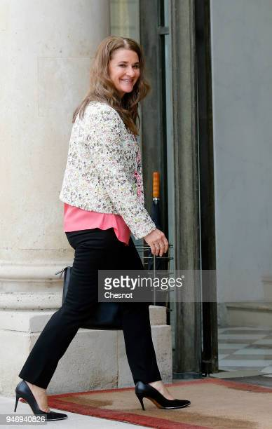 Cochairman and cofounder of the The Bill and Melinda Gates Foundation Melinda Gates arrives at the Elysee Palace for a meeting with French president...