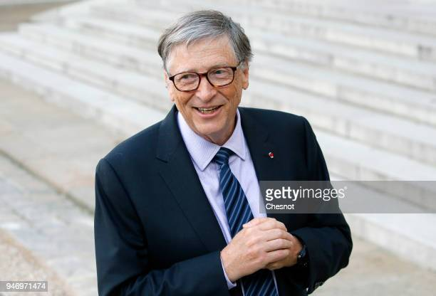 Cochairman and cofounder of the The Bill and Melinda Gates Foundation Bill Gates speaks to the media after his meeting with French president Emmanuel...