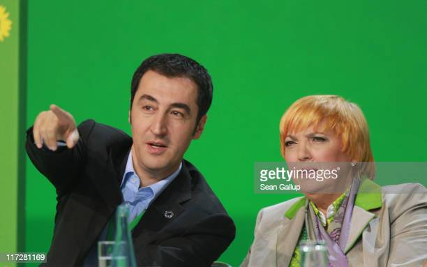 CoChairman Cem Oezdemir and coChairwoman Claudia Roth of the German Greens Party attend an exceptional national convention of the party over nuclear...