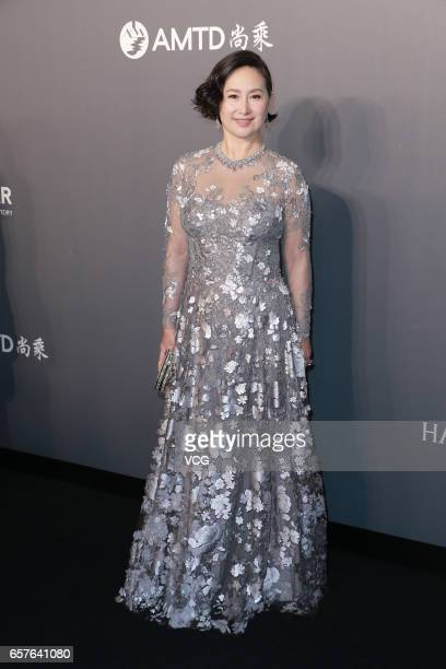 Cochairman of MGM China Holdings Ltd Pansy Ho arrives at the red carpet of the amfAR Hong Kong Gala at Shaw Studios on March 25 2017 in Hong Kong...
