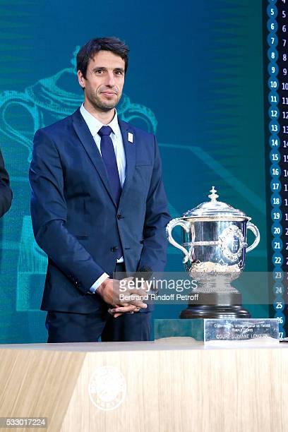 Co-chairman of the organizing committee of the Olympic Games of Paris 2024, Canoe Olympic champion Tony Estanguet attends the 2016 Roland Garros...