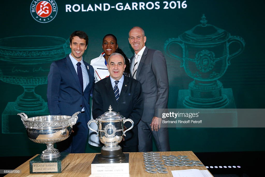 Co-chairman of the organizing committee of the Olympic Games of Paris 2024, Canoe Olympic champion Tony Estanguet, Athlete Marie-Jose Perec, President of French Tennis Federation Jean Gachassin and Director of Roland Garros tournament, Guy Forget attend the 2016 Roland Garros French Tennis Open : Women's And Men's Singles Draw. Held at Club des Loge in Roland Garros on May 20, 2016 in Paris, France.