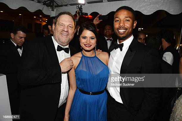 CoChairman of The Weinstein Company Harvey Weinstein and actors Melonie Diaz and Michael B Jordan attend the Fruitvale Station Cannes screening...