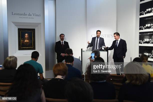 CoChairman PostWar and Contemporary Art New York Loic Gouzer speaks as Christie's unveils Leonardo da Vinci's 'Salvator Mundi' with Andy Warhol's...