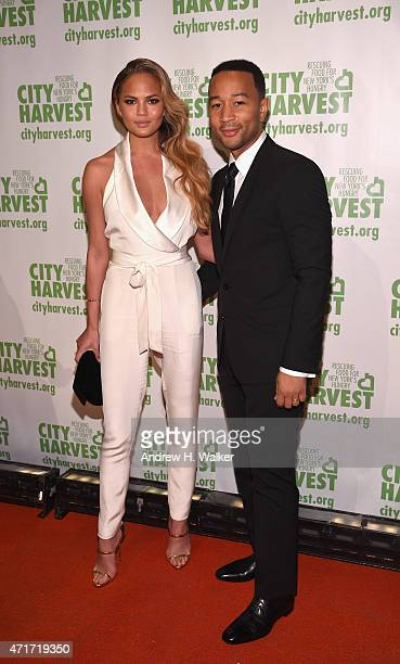 Co-Chairs Chrissy Teigen and John Legend attend City Harvest's 21st Annual Gala - An Evening Of Practical Magic at Cipriani 42nd Street on April 30,...