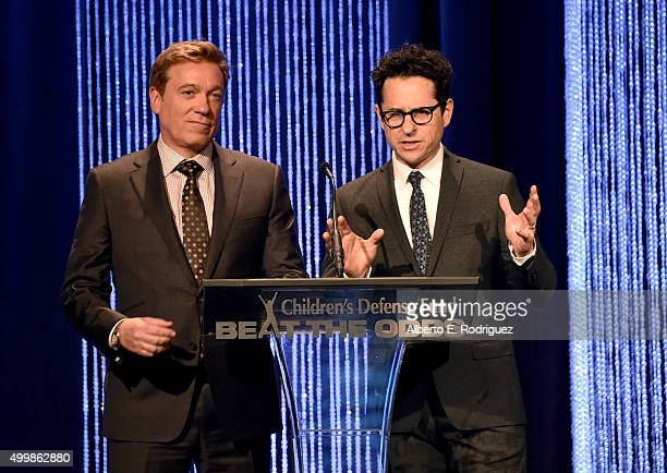 CoChairs Kevin Huvane and JJ Abrams speak on stage at the Children's Defense FundCalifornia 25th Annual Beat The Odds Awards at Regent Beverly...