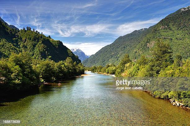 cochamo river - chilean lake district stock photos and pictures