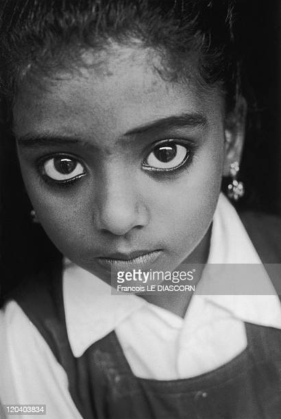 Cochin India Portrait Of A Little Girl With Big Eyes At Kerala