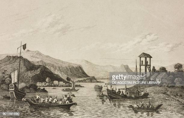 Cochinchina boats on the Taifo River Burmese Empire engraving by Lemaitre from Japon IndoChine Empire Birman Sima Annam Peninsule Malaise etc Ceylan...